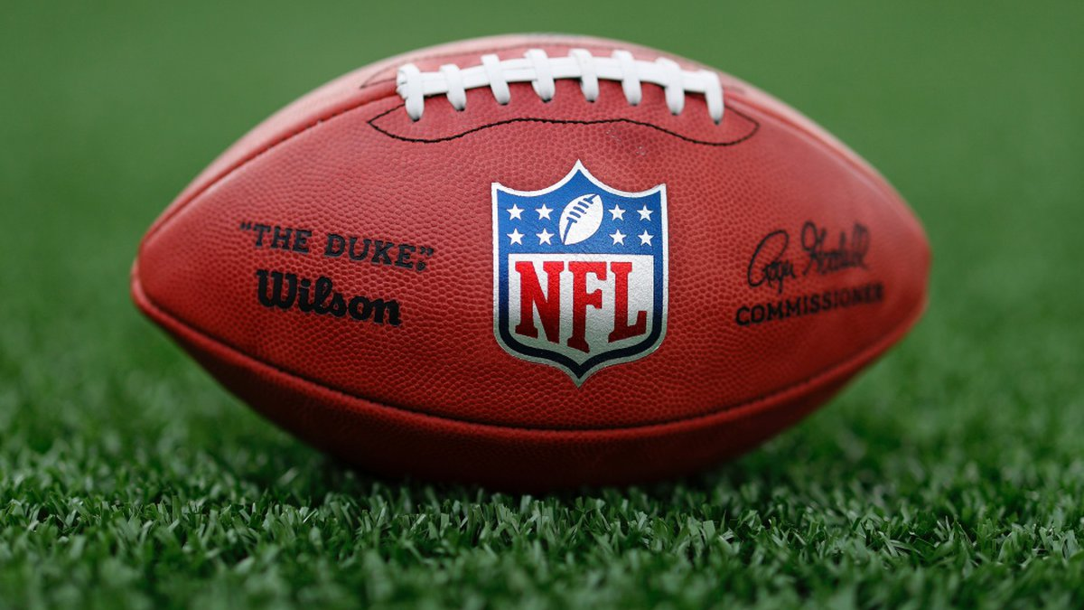 A detail view of a football is seen on the field Tuesday, May 5, 2020, in Houston. (Aaron M....
