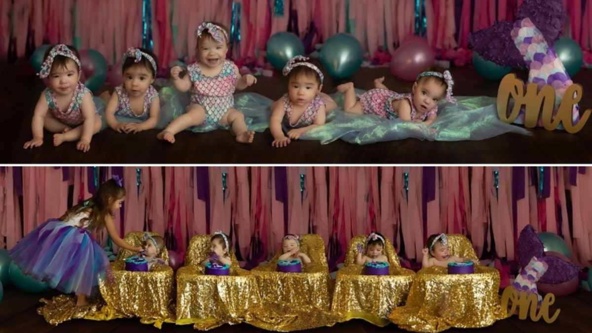 Hadley, Reagan, Zariah, Zylah and Jocely Rodriguez turned one back in August.